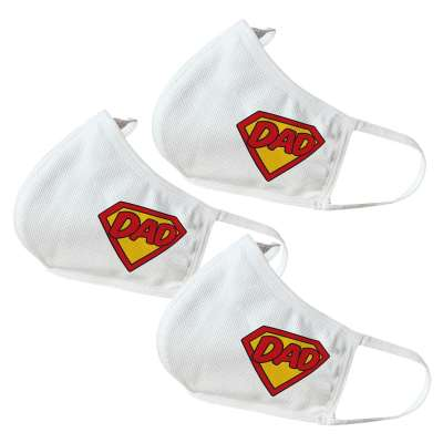 Super Dad Themed Face Masks - perfect for Father's Day / Dad's Birthday / Dad's Gifts or for self-use (3 Pack)