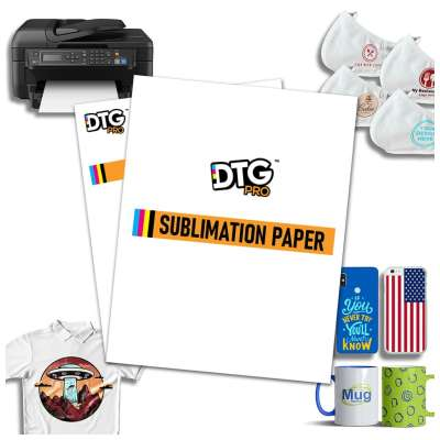 "DTGPRO Sublimation Paper / Heat Transfer Paper 100 Sheets (A4 Letter Size, 8.3"" x 11.7"") for all inkjet printers utilizing Sublimation Ink - for transferring images to light colored polyester fabric such as T-shirts, and other objects"