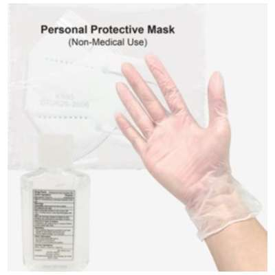 PPE Bundle Value Pack (includes 2oz hand sanitizer, KN95 Disposable Mask, and a pair of Vinyl Gloves) - MINIMUM 50 purchase required