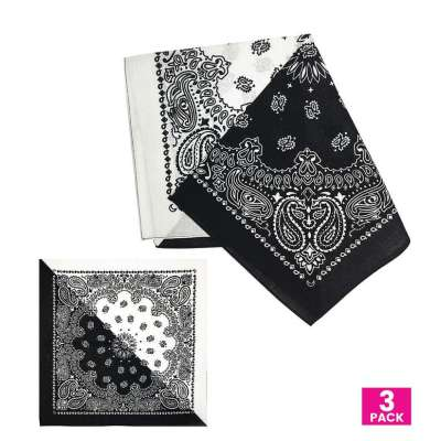 Cotton Bandanas for Face Masks | Make a Cloth Face Mask (22 inch x 22 inch size) - 3 Pack - Black and White