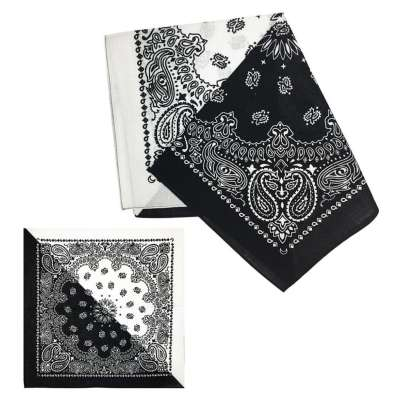 Cotton Bandanas for Face Masks | Make a Cloth Face Mask (22 inch x 22 inch size) - Black and White
