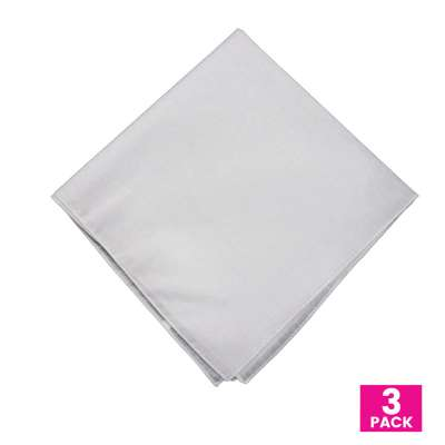 Cotton Bandanas for Face Masks | Make a Cloth Face Mask (22 inch x 22 inch size) - 3 Pack - Plain White